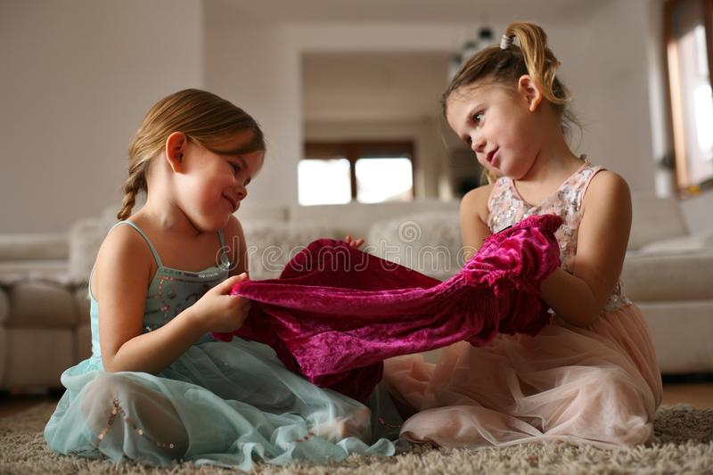 Girls stuff. Little sisters. royalty free stock photo