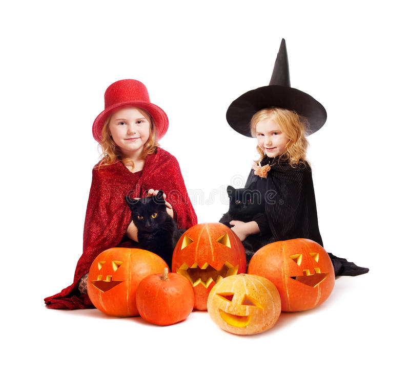 Download Girls in a suit of a witch stock photo. Image of fall - 19718172