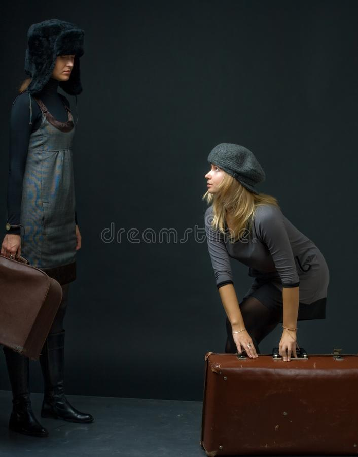 Girls With Suitcase Royalty Free Stock Image