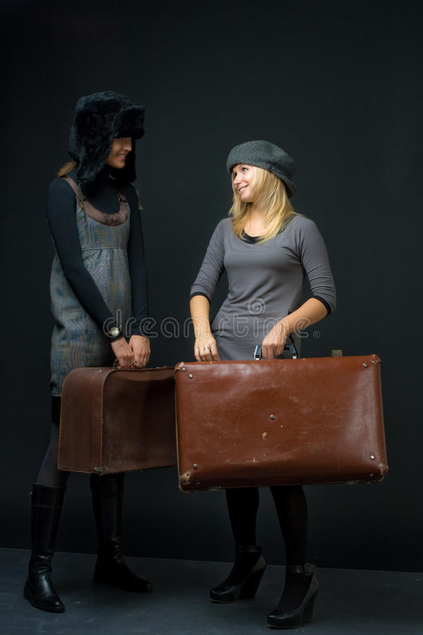 Download Girls with suitcase stock photo. Image of going, black - 13505824