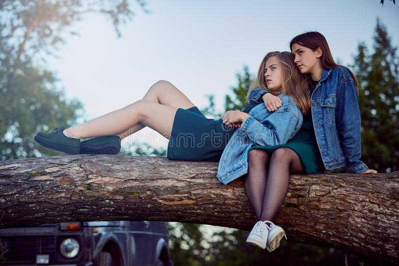 Girls summer secrets stock image