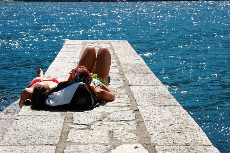 Girls suntanning