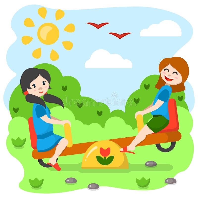 Girls swinging on a rocker. Cartoon style vector illustration. Suitable for children book decor vector illustration