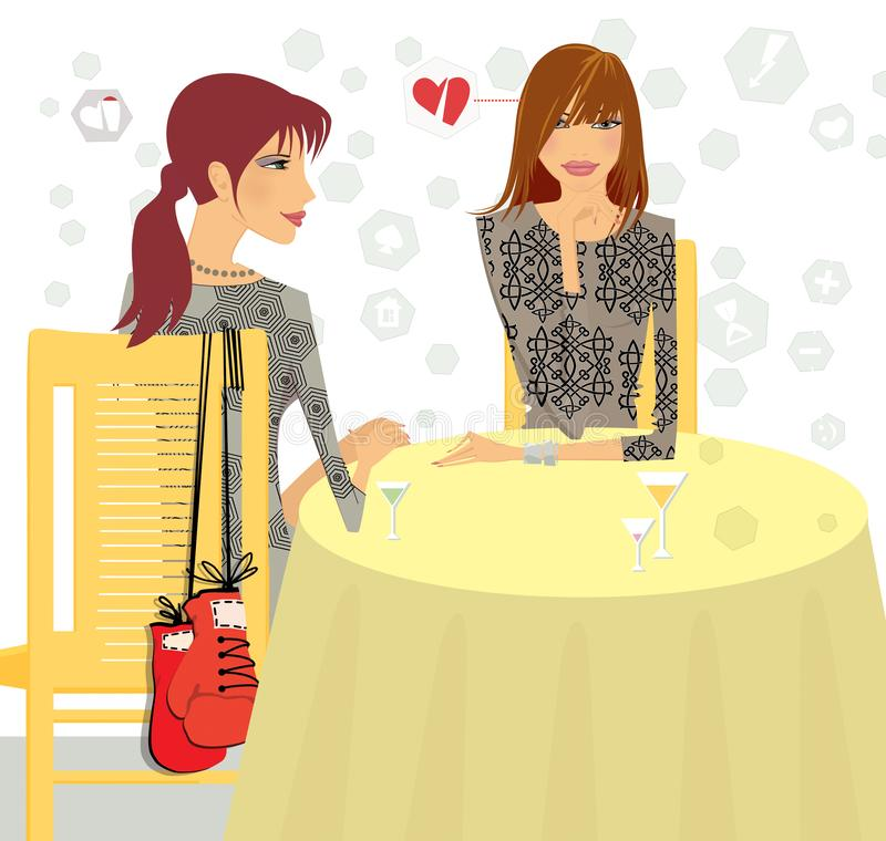 Girls at the table reflect on love problems. stock illustration