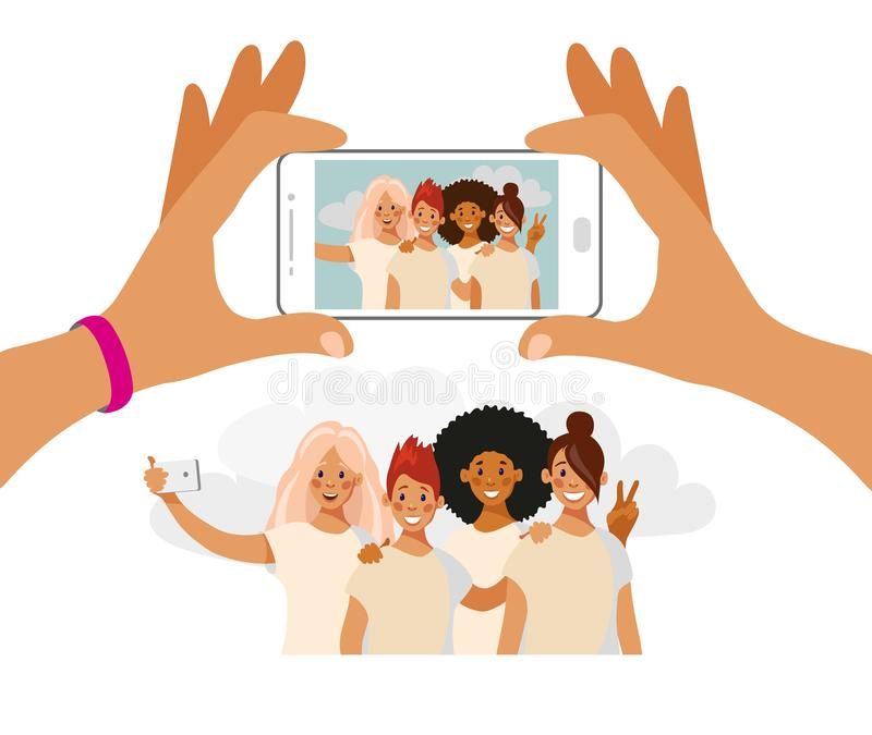 Girls take a photo on the phone. A group of friends of different nationalities is photographed. Selfie best friends royalty free illustration