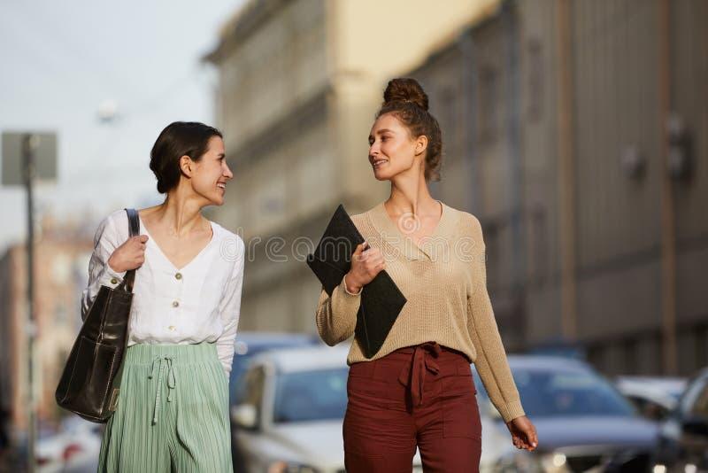 Girls taking walk stock photography