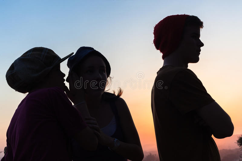 Download Girls Talk Boy Silhouetted stock photo. Image of silhouetted - 33496906