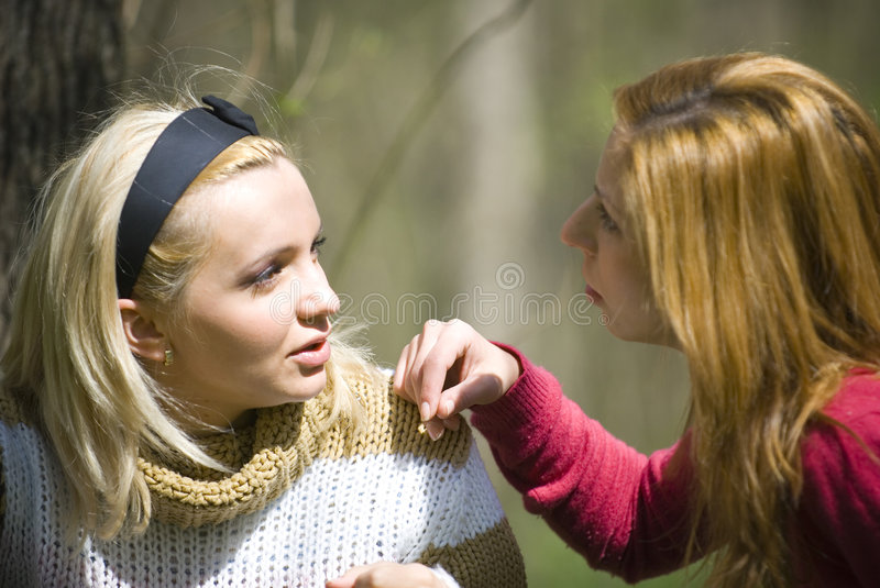 Download Girls talking stock photo. Image of talks, forest, pretty - 2487178