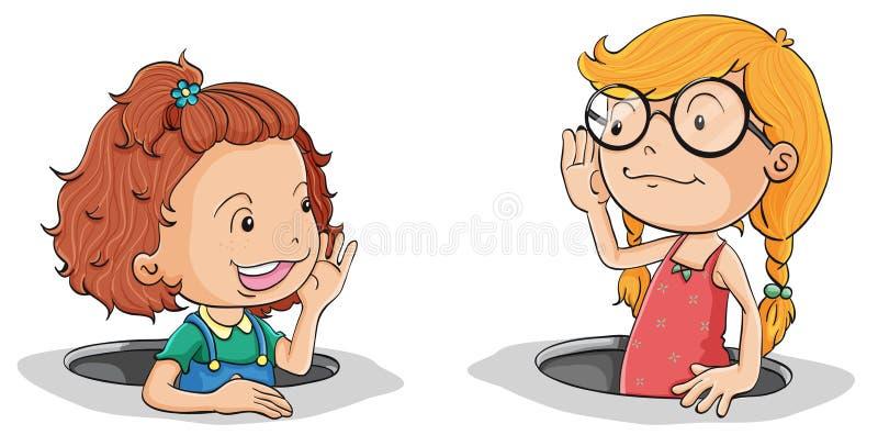 Girls talking royalty free illustration