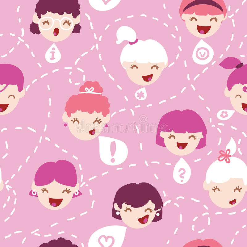 Download Girls Talking Seamless Pattern Background Stock Vector - Image: 32492655