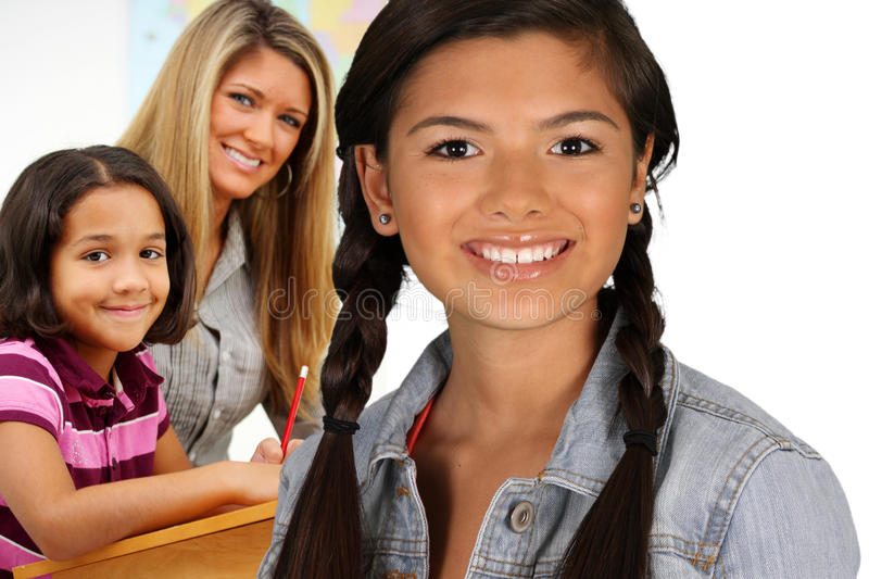 Download Girls With Teacher stock image. Image of pencil, mixed - 24764189