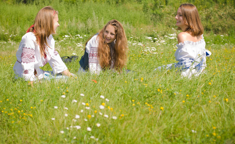Download Girls in Traditional Dress stock image. Image of garden - 20865433