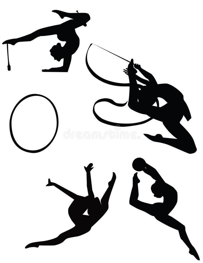 Girls training rhythmic gymnastic stock photo