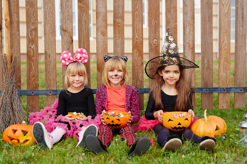 Girls with treats royalty free stock photography