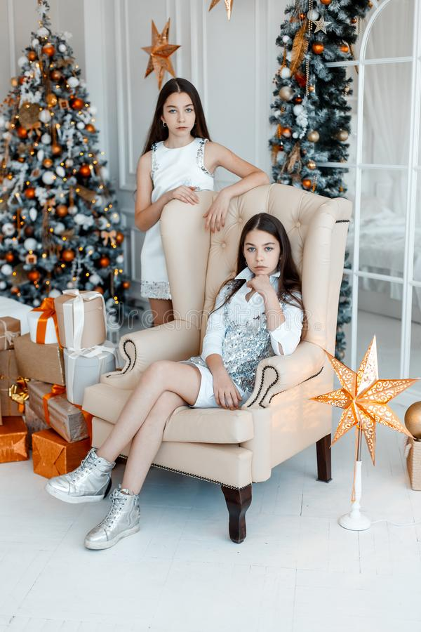 Girls twins in front of the fir-tree. New year`s eve. Christmas. Cozy holiday at the fir-tree with lights royalty free stock image