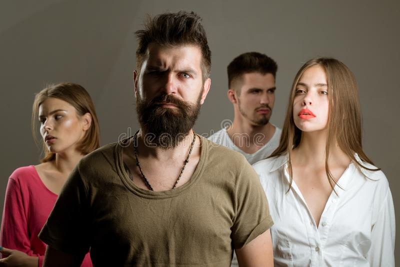 Girls with two men. Love relations of people. depression and suicidal tendencies family psychologist therapy. Hopes and. Wishes. club for people with problems stock image