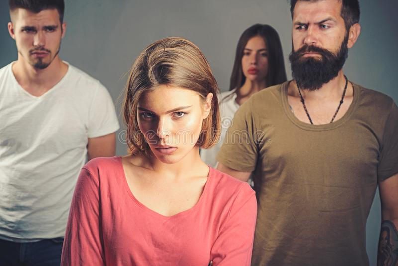 Girls with two men. Love relations of people. Hopes and wishes. family psychologist therapy. club for people with. Problems. depression and suicidal tendencies royalty free stock image