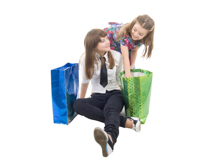Download Girls With Two Shoping Bags. Stock Photo - Image: 10293886