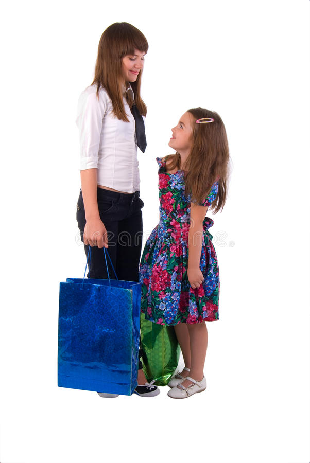 Download Girls With Two Shopping Bags. Stock Image - Image: 11194013