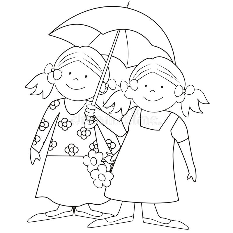 Download Girls And Umbrella-coloring Stock Vector - Illustration: 32039889