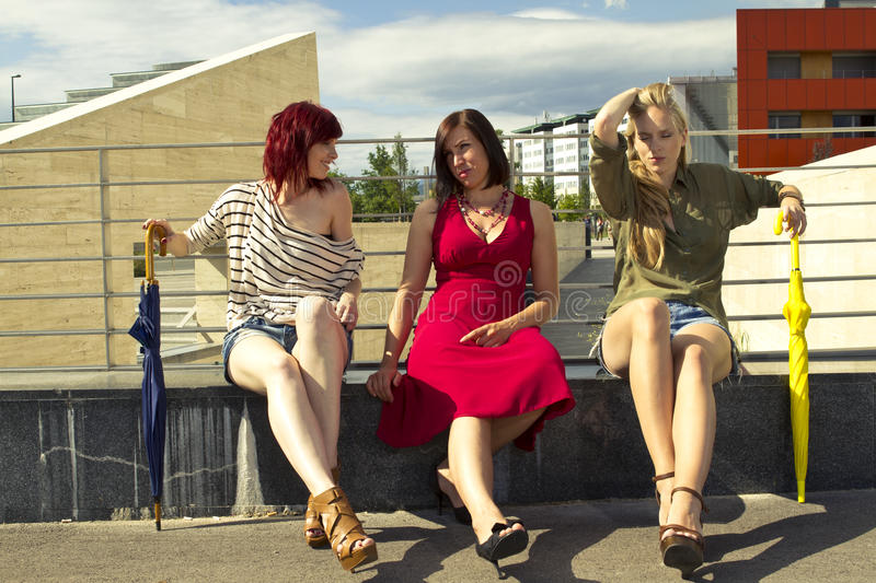 Girls in urban area stock images
