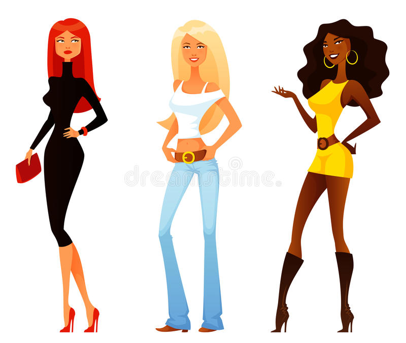 Girls with various fashion style and personality royalty free illustration