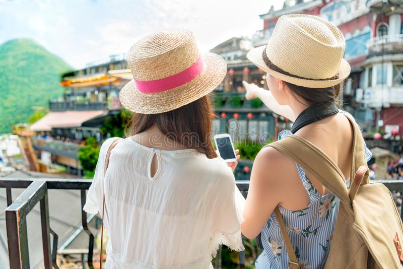 Girls visiting famous attractions of Jiufen Taiwan stock image