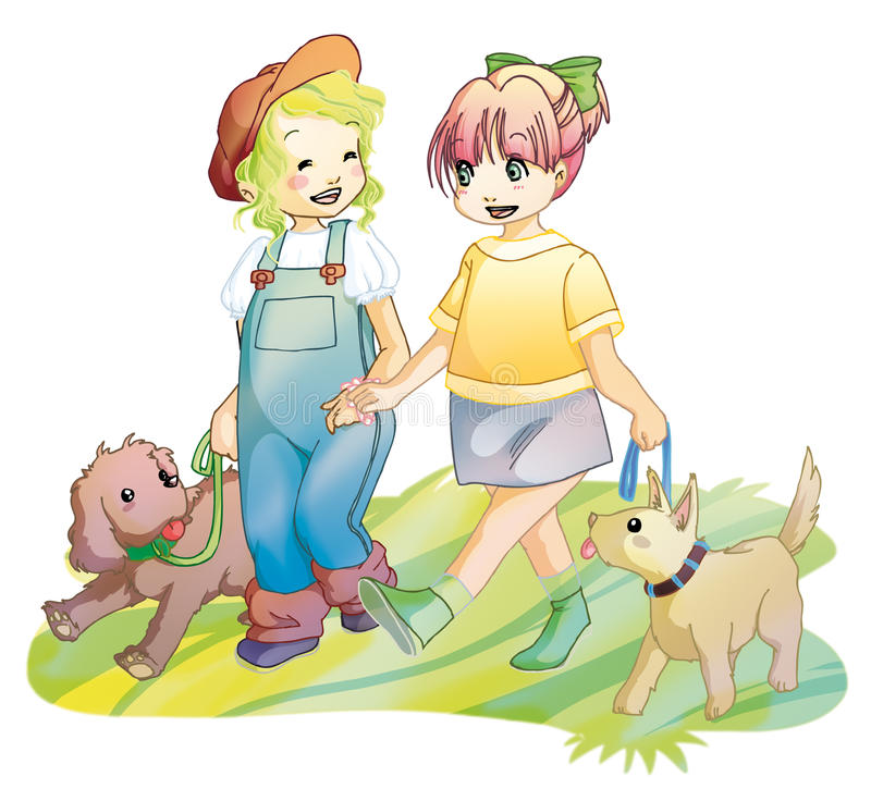 Girls walking with the dogs in the park royalty free illustration