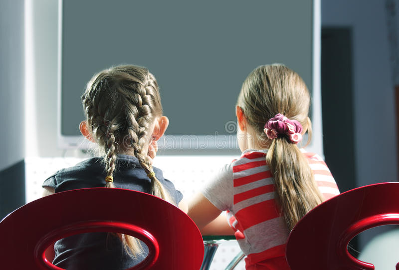 Download Girls watching television stock image. Image of young - 13902801
