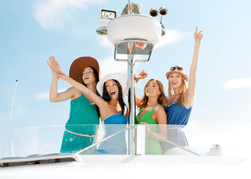Download Girls Waving On Boat Or Yacht Royalty Free Stock Photos - Image: 33665918
