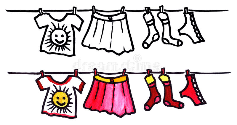 Girls wear. Hand drawn illustrated girls wear (laundry) - outlines and watercolor set royalty free illustration
