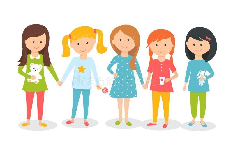 Girls Wearing Pajamas. Kids Sleepover or Slumber Party. stock illustration