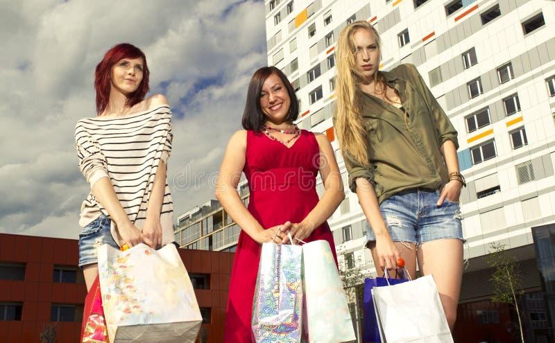 Girls went shopping royalty free stock photos