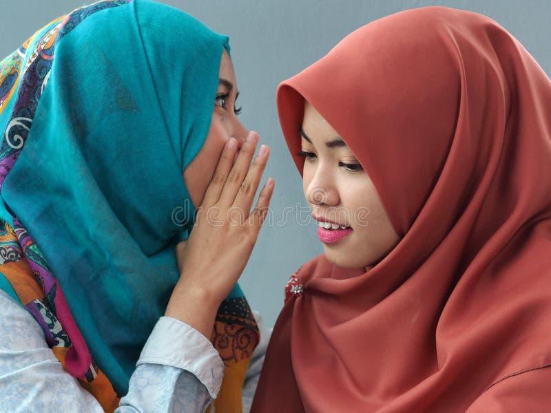 Girls whispering stock photography