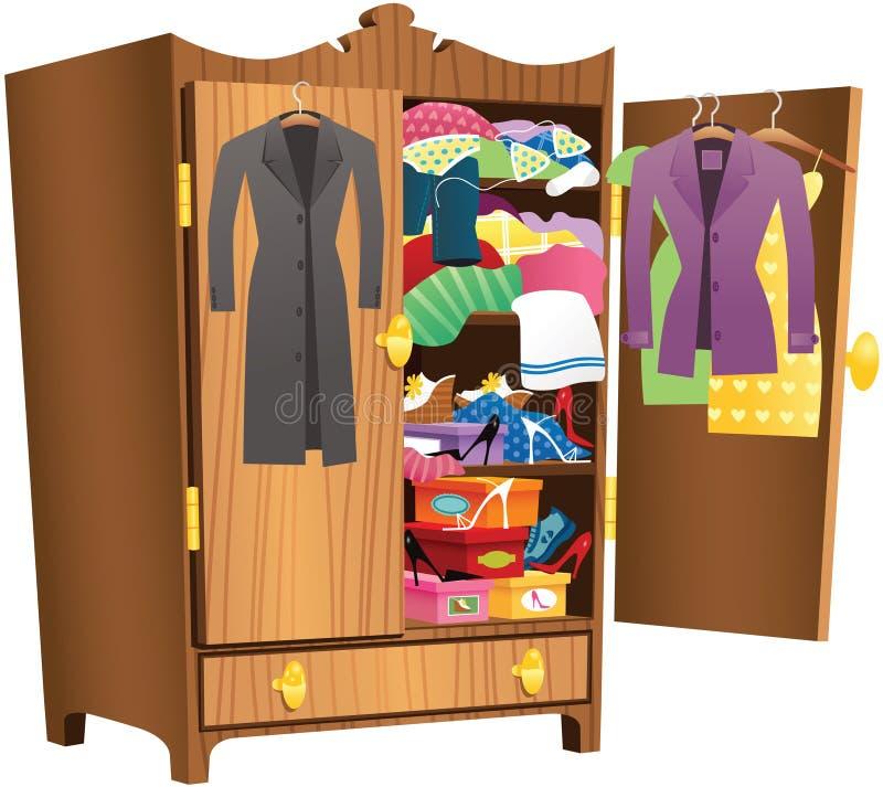 Girls wooden wardrobe vector illustration