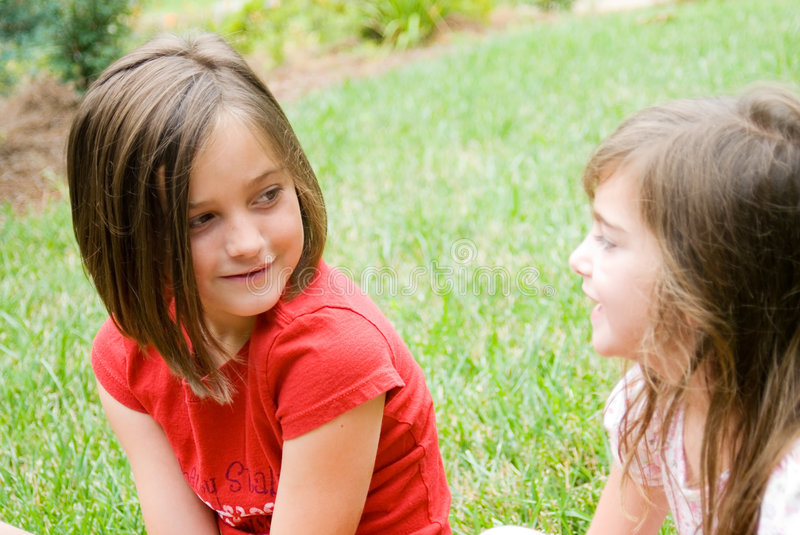 Download Girls in Yard Talking stock image. Image of female, outside - 5653559