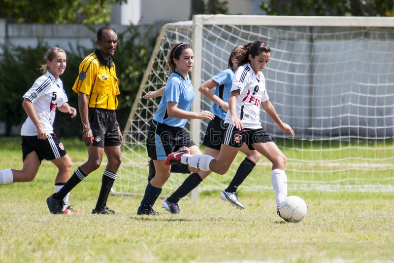 Girls Youth soccer. royalty free stock photos