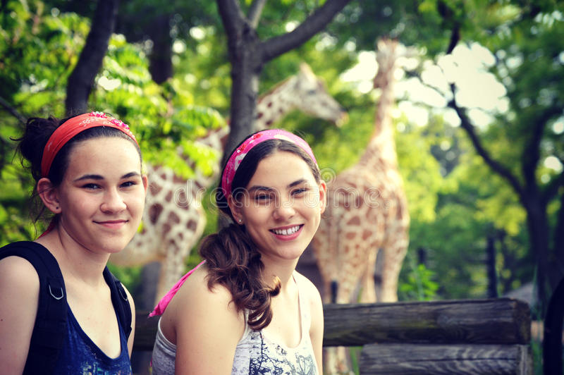 Girls at Zoo royalty free stock photography