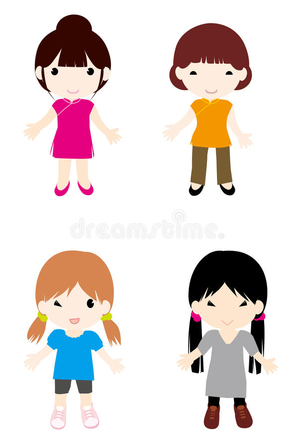 Download Girls2 stock illustration. Image of comic, curve, contour - 15884017