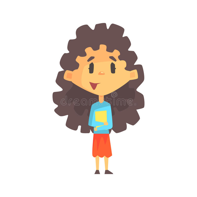 Girly Girl With Long Dark Hair Holding Books, Primary School Kid, Elementary Class Member, Isolated Young Student vector illustration