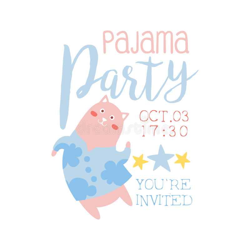 Girly Pajama Party Invitation Card Template With Cat Inviting Kids For The Slumber Pyjama