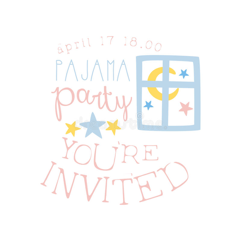 Girly Pajama Party Invitation Card Template With Night Window Inviting Kids For The Slumber