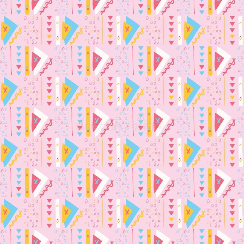 Girly Różowych trójboków Memphis wektoru Stylowy Geometryczny Abstrakcjonistyczny Bezszwowy wzór ilustracja wektor
