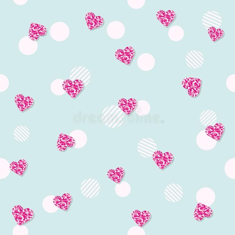 Girly seamless pattern with glitter confetti hearts on pastel blue. For birthday, fashion and wedding design. Vector EPS10. Girly seamless pattern with glitter stock illustration
