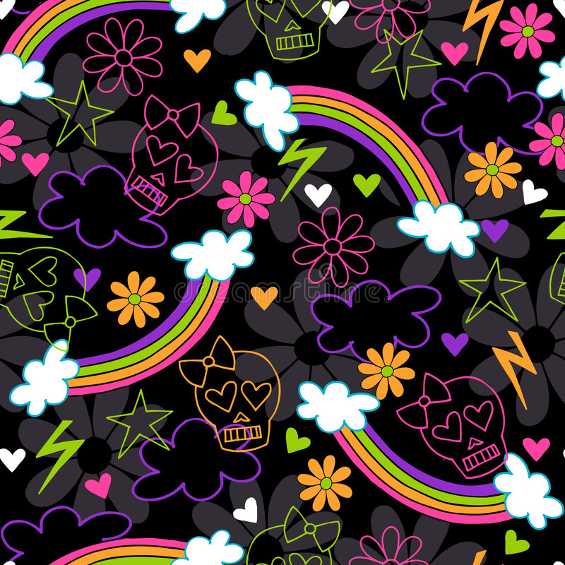 Free Girly Skulls Rainbow Seamless Repeat Pattern Royalty Free Stock Photography - 6857077
