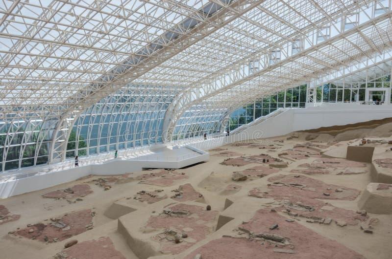 Giro arqueológico mesolítico de Lepen del sitio, entre 9500/7200-60 imágenes de archivo libres de regalías