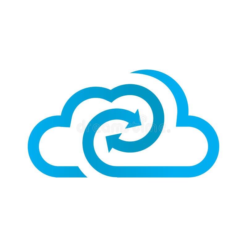 Giro azul do logotipo da nuvem com seta ilustração do vetor