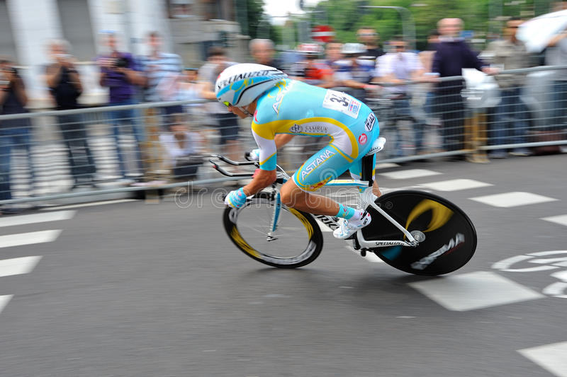 Giro d'Italia 2012 - Milan last Time trial. Giro d'Italia professional bicycling race, time trial final day in Milan, Italy, 2012 May 27 stock image