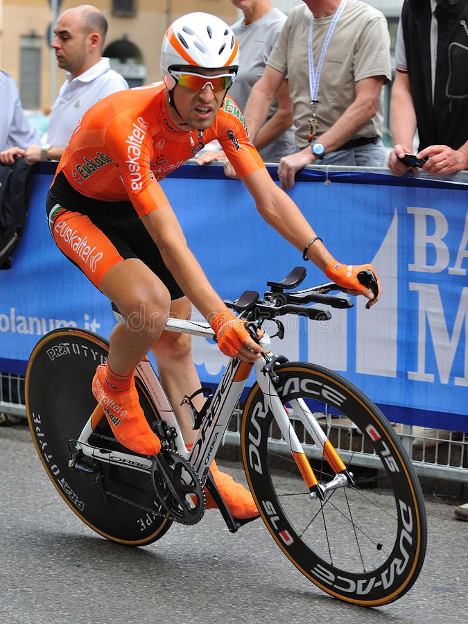 Giro d'Italia 2012 - Nieve - Time trial. Racer Nieve at Giro d'Italia professional bicycling race, time trial final day in Milan, Italy, 2012 May 27 stock image