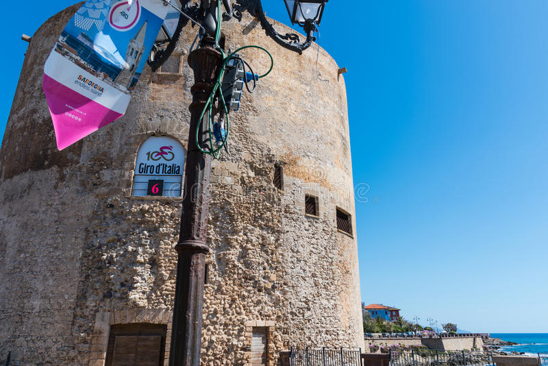 Giro d`Italia banner in the seafront stock image